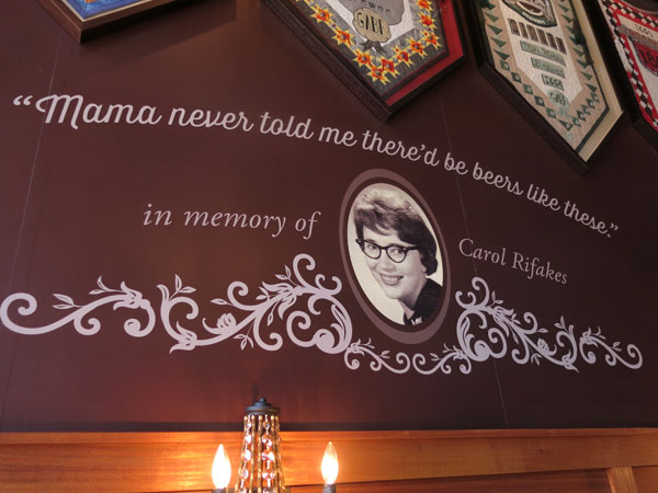 """Like a """"Mom"""" tattoo, only better. If you've ever noticed the quilted banners at the brewery that highlight Town Hall's awards, you've seen Pete's mom's work. A fitting memorial."""
