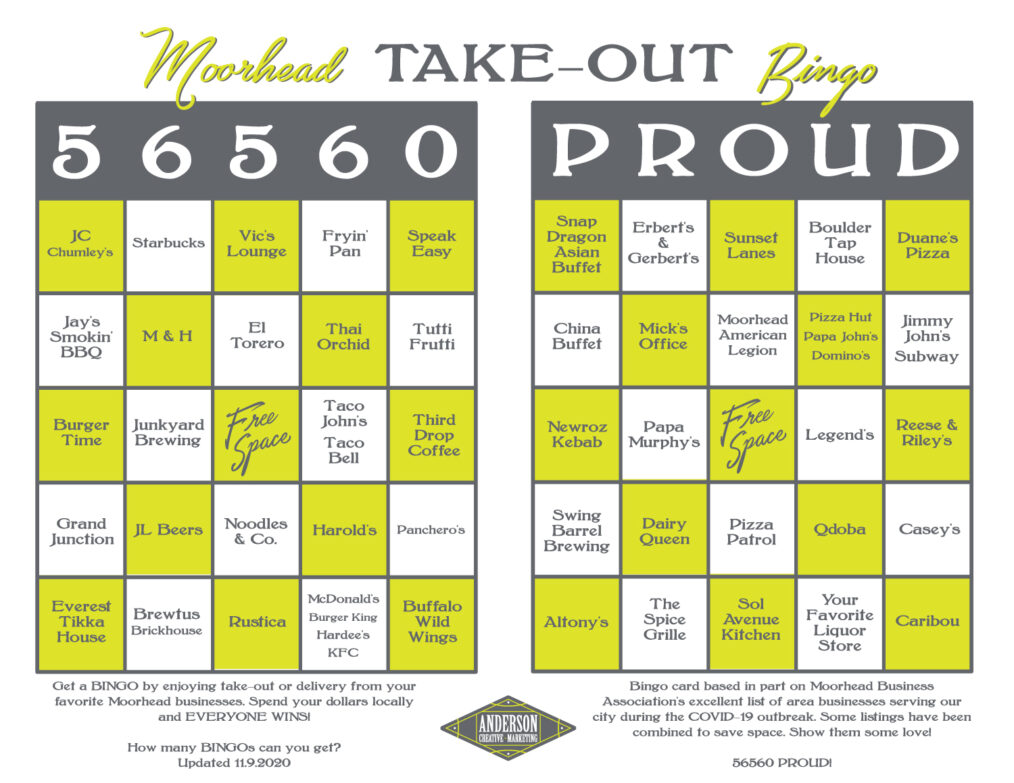 Moorhead Take-Out Bingo - November 2020